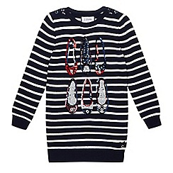 J by Jasper Conran - Girls' navy knitted sequin shoe tunic