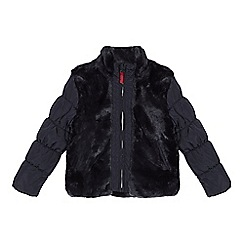 J by Jasper Conran - Navy faux fur panel jacket