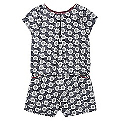 J by Jasper Conran - Girl's blue daisy print pleat top and shorts