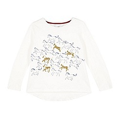 J by Jasper Conran - Designer girl's off white galloping horses top
