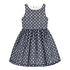 J by Jasper Conran - Girls' navy gingham spot prom dress