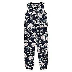 J by Jasper Conran - Designer girl's navy floral frilled waist jumpsuit