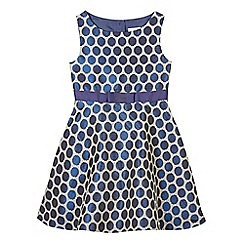 J by Jasper Conran - Girl's navy jacquard spot prom dress