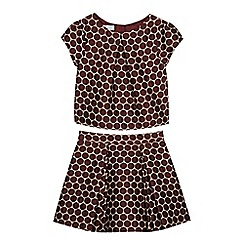 J by Jasper Conran - Girl's dark red spotted top and skirt set