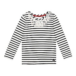 J by Jasper Conran - Girl's navy striped floral collar top