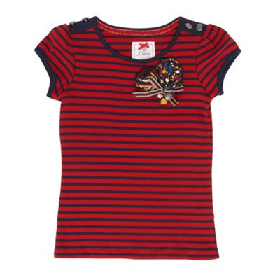 Girls Red And Navy Striped Heart Corsage T-shirt