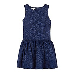 RJR.John Rocha - Designer girl's navy drop waist lace dress