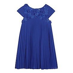 RJR.John Rocha - Designer girl's blue pleated flower bodice dress