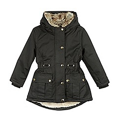 RJR.John Rocha - Designer girl's black faux fur collar padded coat