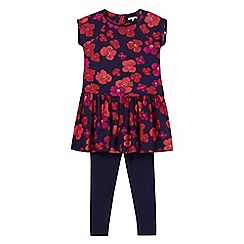 RJR.John Rocha - Designer girl's navy pansy tunic and leggings set