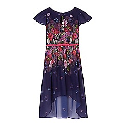 RJR.John Rocha - Girl's purple floral dipped hem dress with belt