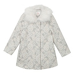 RJR.John Rocha - Girls' grey flower lace faux fur collar coat