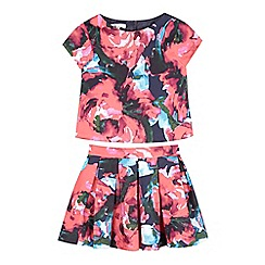 RJR.John Rocha - Girls' dark pink rose top and skirt set