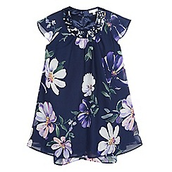 RJR.John Rocha - Girls' navy floral sequinned neck trapeze dress