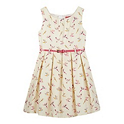 Piknik - Girl's white parrot print belted dress