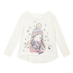 Mantaray - Girls' cream printed long sleeved top