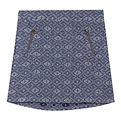 Mantaray - Girls' blue geometric jaquard skirt