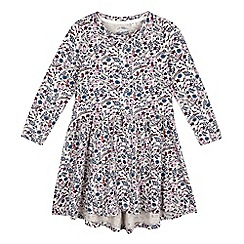 Mantaray - Girls' natural bird print overlay dress
