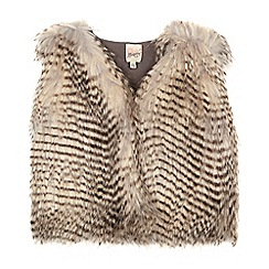 Mantaray - Girls' brown and cream faux fur gilet