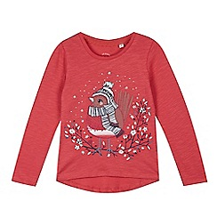 Mantaray - Girls' red Christmas robin t-shirt