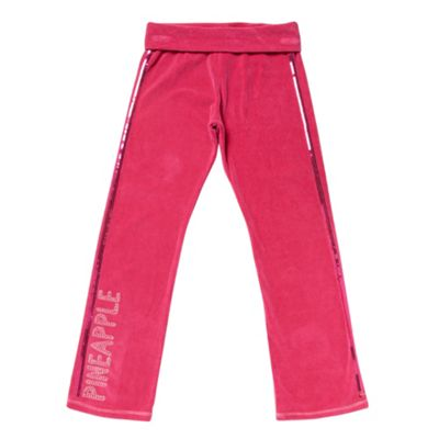 Girls Dark Pink Velour Jogging Bottoms