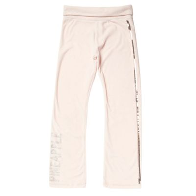 Girls Pale Pink Velour Jogging Bottoms