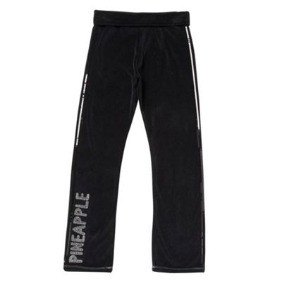 Girls Black Velour Jogging Bottoms