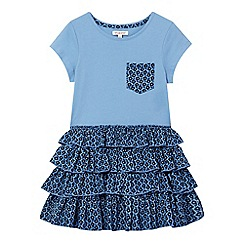 bluezoo - Girls' blue floral print rara dress