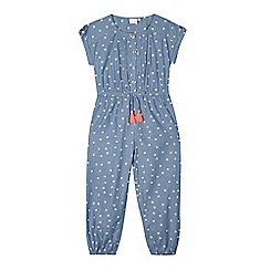 bluezoo - Girls' blue chambray flower print jumpsuit