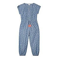 bluezoo - Girls' blue chambray flower print jumpsuit