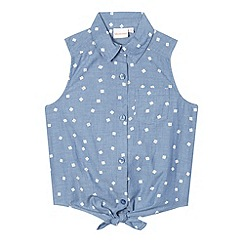 bluezoo - Girls' flower chambray waist tie top