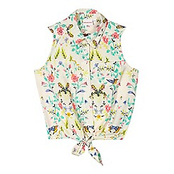 bluezoo - Girls' cream bird print knot tie waist top
