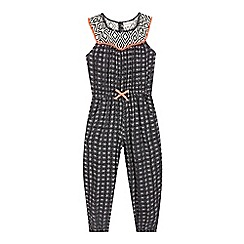 bluezoo - Girls' black aztec print jumpsuit