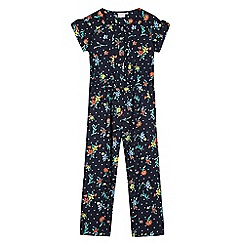 bluezoo - Girls' navy spot and ditsy print jumpsuit