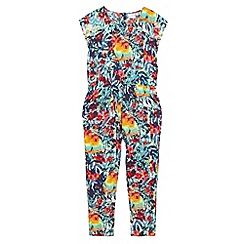 bluezoo - Girls' multi-coloured floral and parrot print jumpsuit