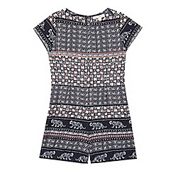 bluezoo - Girls' navy tiled print playsuit