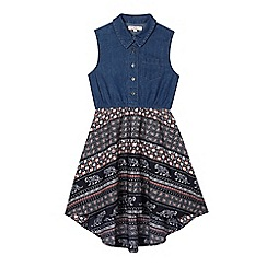 bluezoo - Girls' navy denim tile print mock dress