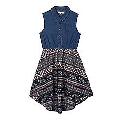 bluezoo - Girls' navy denim tile print mock dress