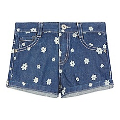 bluezoo - Girls' dark blue flower print denim shorts