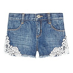 bluezoo - Girls' blue lace trim denim shorts