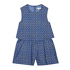 bluezoo - Girls' navy floral double layer playsuit