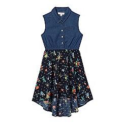 bluezoo - Girls' navy denim mock ditsy dress