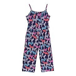 bluezoo - Girls' navy zebra print culotte jumpsuit