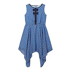 bluezoo - Girls' blue floral hanky hem dress