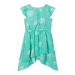 bluezoo - Girls' green sunflower hanky hem dress