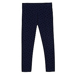 bluezoo - Girls' navy flower textured leggings
