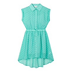 bluezoo - Girls' green polka dot shirt dress