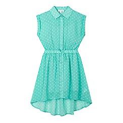 bluezoo - Girls' green polka dot shirt dress