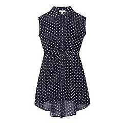 bluezoo - Girls' navy polka dot shirt dress