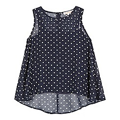 bluezoo - Girls' navy cami and polka dot print tunic set